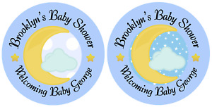 24 BLUE MOON CELESTIAL PERSONALIZED BABY SHOWER THANK YOU PARTY STICKERS FAVORS