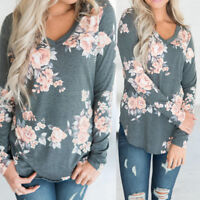 Fashion Women Loose Long Sleeve Tops Blouse Ladies Floral Printed Casual T-Shirt