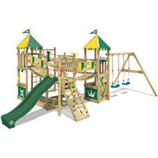 Aire de jeux Maison en bois avec balançoire et toboggan- WICKEY Smart Queen vert