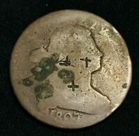 1807 US Draped Bust Large One Cent 1C S-271 Variety Counterstamped US Coin CC788