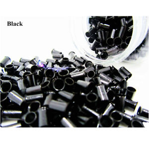 1000 Extensions 6mm Micro Copper Tube Beads Link Rings Lined for Hair Extension