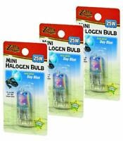 (3 Pack) Zilla Reptile Terrarium Heat Lamps Mini Halogen Bulb, Day Blue, 25W
