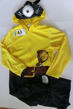 Minion Pirate Mens large one piece pajamas union suit hooded costume new 42 44
