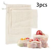 3Pcs Reusable Produce Bags Cotton Mesh Bags Pouches For Grocery Vegetable Fruits