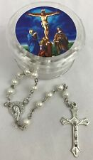 Faux Pearl Rosary Beaded Silver Tone NEW with Crucifixion Case