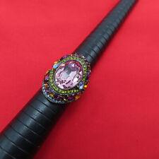 Heidi Daus Ring Shirli Stunning Pink Amethyst Crystal Size 10 Blue Green 957r