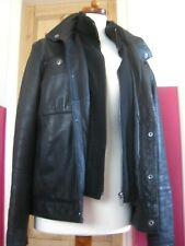 "Mens M&S COLLEZIONE leather layered COAT JACKET size small 36 38"" black biker"