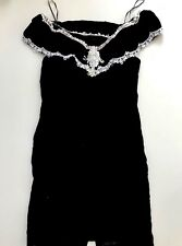 Vintage 90s Off the Shoulder Velvet Sheath Dress SZ 16 Victorian Lace Overlay