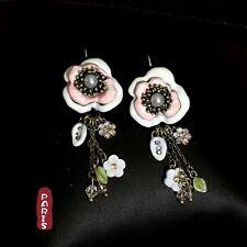 Boucles d'Oreilles DormeuseS Fleur Perle Blanc Rose Email Original Mariage L1