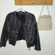 Genuine leather jacket JUST JEANS biker 8 small outdoor fabric lining