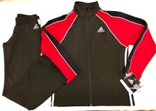 NWT ORIG $170.00! ADIDAS 2 PC WARM UP SUIT BY GK ELITE BLACK RED CHILD  L