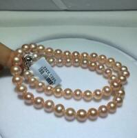 """Real AAA+ 18"""" 8-9mm round pink natural Akoya pearl necklace 14k solid White Gold"""