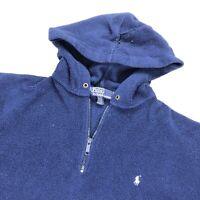 VTG Polo Ralph Lauren Men's 1/4 Zip Fleece Hooded Sweatshirt Blue • Large