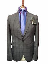BRAND NEW MOSS LONDON 38 REGULAR LIGHT GREY CHECKED SKINNY FIT SUIT,W32 L31.5,