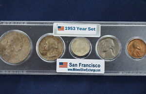 1953-S Silver Set Original Toned Uncirculated Set 5 Coins Taken from US Mint Set