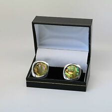Danish silver cuff links with Abalony Shell made by Arne Johansen