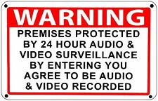 Warning Premises under 24 Hr Audio Video Surveillance home security cctv Signs