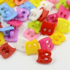 50 Acrylic Shank Buttons Dyed, Letter B,  14mm x13x2mm Craft sewing Mixed Color,