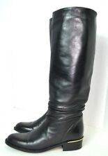 SUDINI  Black Leather Knee High Boots EXCELLENT Womens FLAT SIZE 8 A ITALY