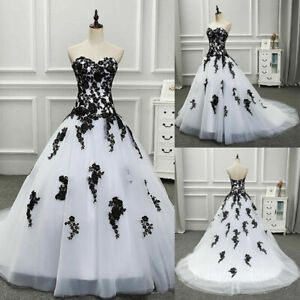 Gothic White and Black Wedding Dresses Vintage Sweetheart Appliques Bridal Gowns