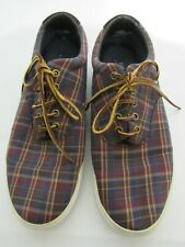 Men POLO BY RALPH LAUREN CANVAS PLAID SNEAKERS WITH LEATHER STRINGS 12D