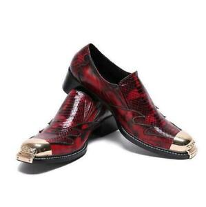 Mens Casual Metal Round Toe Wedding Dress Formal Party Nightclub Leather Shoes