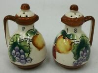 Vintage 1950's ArtKaul Japan Hand Painted Fruit Cruet Salt and Pepper Shakers