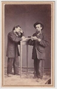 Payne  Double-Exposure Portrait Businessman & Ledger / Document 1860s CDV Photo