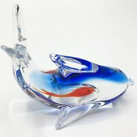 Paperweight Royal Blue Orange and Clear Dolphin Hand Blown Art Glass