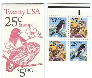 Scott # 2284/5...25  Cent...Owl/Bird...Booklet  of 20 Stamps...BK #160