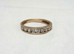 10K Stacking Band Ring 0.50 CZ 9 stone Absolute Channel Set Wedding Anniversary