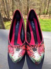 ED HARDY Silver Heel Stilettos KOI COI GOLDFISH High Heels Womens Shoes Size 8