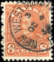 1930 Used Canada VF 8c Scott #172 KGV Arch/Leaf Stamp
