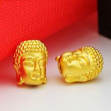 1pcs Pure 999 24k Yellow Gold Pendant/3D Bless Buddha Head Bead Pendant/1.4-1.7g