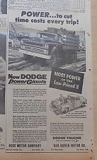1957 newspaper ad for Dodge Trucks - Power to cut Time Costs every trip