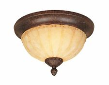 Burnt Umber with Warm Amber Glaze Glass Flush Mount Ceiling Light