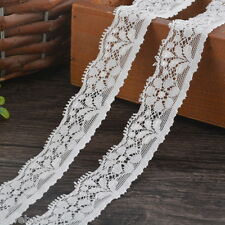 5Yards/4.5M White Elastic Lace Trim Ribbon Fabric 2.5cm Wide Decor Craft Sewing