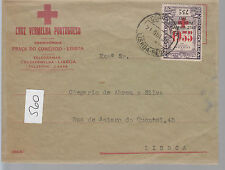 1935 Portugal Red Cross Cover to Lisbon # 1SP With Inverted Overprint Unlisted