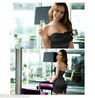 Black or Gold Bandeau Lace Ruffle Cocktail Party Prom Mini Satin Dress 1466
