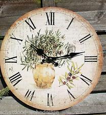 Horloge de cuisine murale Méditerranée olive style maison campagne crème beige