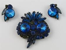 Vintage JULIANA D&E Blue Rivoli Green Rhinestone Owl Brooch & Clip Earring SET