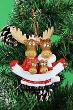 PERSONALISED CHRISTMAS TREE DECORATION ORNAMENT MOOSE FAMILY OF 4