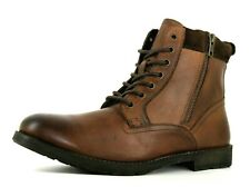 Topshop Rogue Mens UK 10 EU 44 Mid Brown Leather Zip & Lace Up Ankle Boots