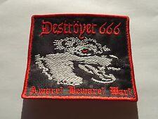 DESTROYER 666 AWARE BEWARE WAR BLACK THRASH METAL EMBROIDERED PATCH