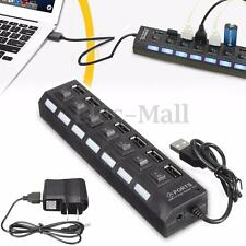 7 Port High Speed USB 2.0 Hub + AC Power Adapter ON/OFF Switch For PC Laptop