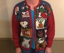 HandKnitted Sweater Cardigan Vtg Sz L Northern Isles Flag House Coffee Fall Milk
