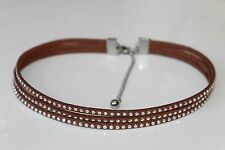 BROWN FAUX SUEDE LEATHER WITH SILVER CABOCHONS CHOCKER NECKLACE-STAINLESS CLASPS