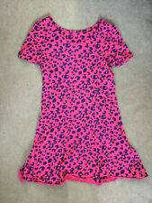 M&S PINK & PURPLE ANIMAL PRINT A-LINE DRESS WITH SHORT SLEEVES -AGE 10-11y BNWT