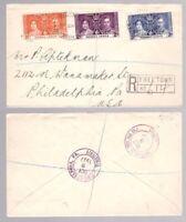 Sierra Leone, 1937 Coronation set on registered cover to USA      -BO90