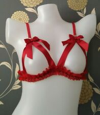 Naughty Janet Passion Red Open Ribbon Bra Small By Janet Reger RRP £40 BNWT